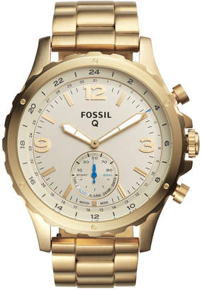 Fossil Q Men Nate Gold-Tone Stainless Steel Bracelet Hybrid Smart Watch 50mm
