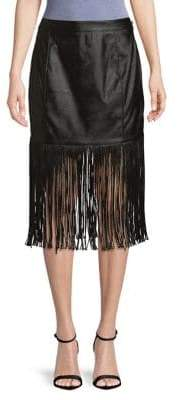 Artistix Patent Fringe Midi Skirt