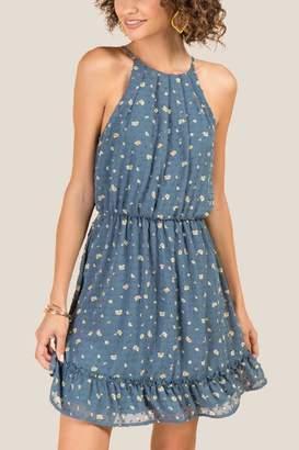 francesca's Calliope Ruffle Bottom Dress - Dark Teal