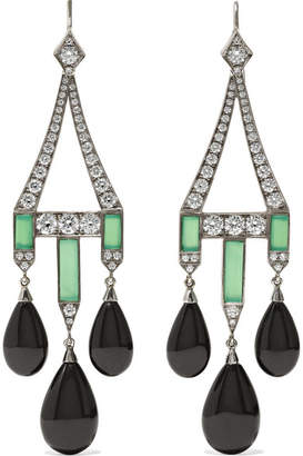 Fred Leighton Collection 18-karat White Gold Multi-stone Earrings