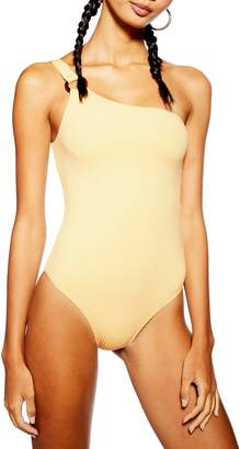 Topshop Ribbed One-Shoulder One-Piece Swimsuit
