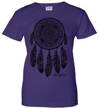 Co Dolphin Shirt Native American Dreamcatcher Free Spirit Black Ladies T-Shirt