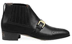 Gucci Women's Worsh Leather Buckle Ankle Boots
