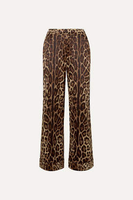 Dolce & Gabbana Leopard-print Stretch-silk Satin Wide-leg Pants - Brown