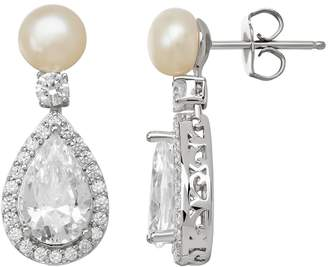 0c96ef297 Swarovski Emotions Cubic Zirconia & Simulated Pearl Sterling Silver  Teardrop Earrings - Made with Cubic Zirconia
