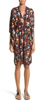 Zero Maria Cornejo Print Stretch Silk Drape Dress