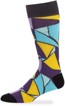 Jared Lang Men's Triangle Cotton Socks, Purple/Black