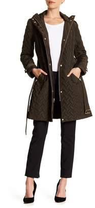 Cole Haan Quilted Waist Tie Jacket