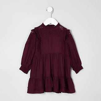 River Island Mini girls dark purple frill high neck dress
