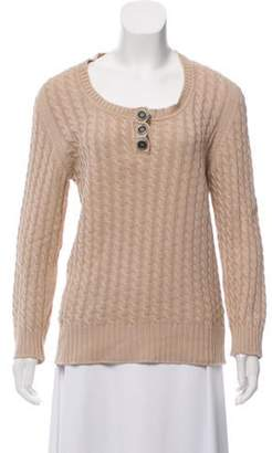 Burberry Cable Knit Lightweight Sweater Khaki Cable Knit Lightweight Sweater