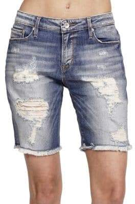 Cult of Individuality Tomboy Distressed Skinny-Fit Shorts