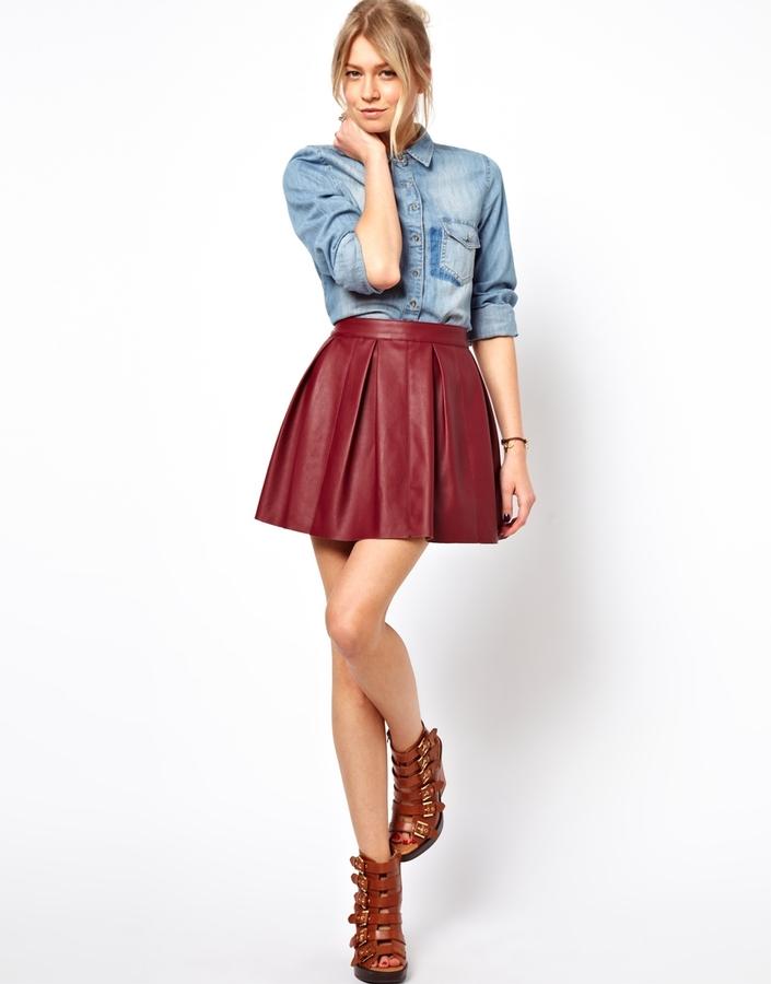 ASOS Skater Skirt in Leather Look