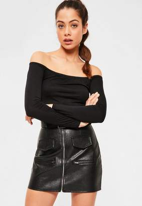 Missguided Long Sleeve Jersey Bardot Crop Top Black-16