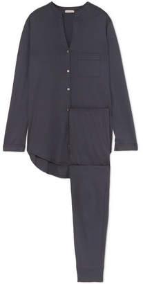 Hanro Mercerized Cotton Pajama Set - Navy