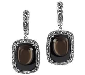 Suspicion Sterling Sapphire Cabochon & Marcasite Earrings