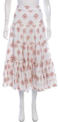 Caroline Constas Patterned Midi Skirt