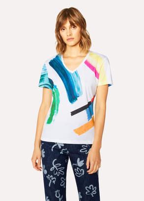 Paul Smith Women's V-Neck Multi-Colour 'Paint Strokes' Print T-Shirt