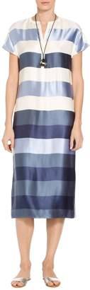 St. John Viscose Block Stripe Twill Dress