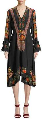 Etro Lace-Trim Engineered Floral-Print Midi Dress