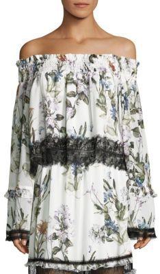 NICHOLAS Iris Off-The-Shoulder Silk & Lace Top $375 thestylecure.com