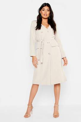 fb1f6618c020 boohoo Woven Military Belted Blazer Midi Dress