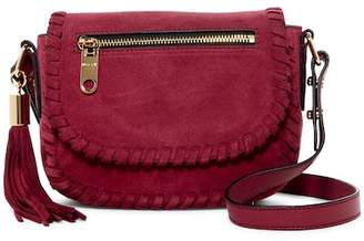 Milly Astor Suede Whipstitch Small Saddle Crossbody Bag