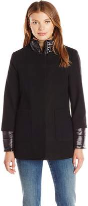 French Connection Women's Collarless Wool Jacket with Detachable Jacket