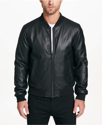 DKNY Men's Faux-Leather Full-Zip Jacket