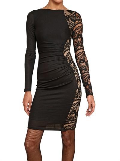 Emilio Pucci Lace Insert Stretch Wool Jersey Dress