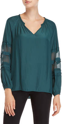 Ramy Brook Rae Sheer Insert Sleeve Top