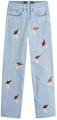 Karl Lagerfeld Cropped Jeans with Choupette Print