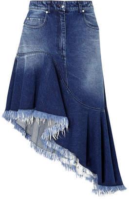 Michael Kors Asymmetric Frayed Denim Skirt - Indigo