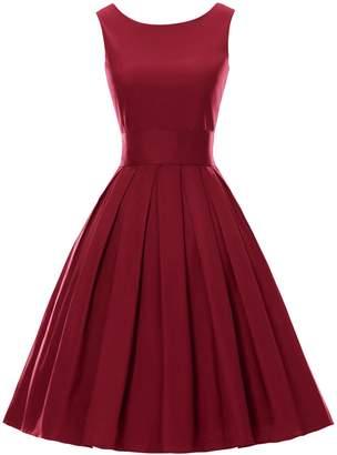 iSherman Women's Classy Audrey Hepburn 1950s Vintage Rockabilly Swing Dress
