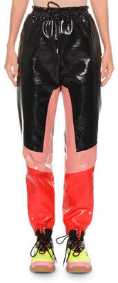 MSGM Faux-Leather Colorblock Drawstring Jogger Pants