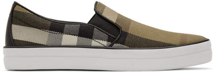 Burberry Brown Check Gauden Slip-On Sneakers