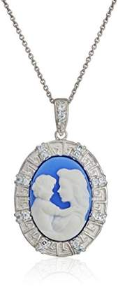 Sterling Silver Cameo Oval with Topaz Mother and Child Pendant Necklace