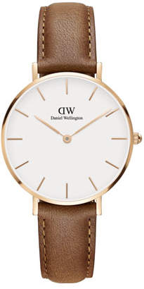 Daniel Wellington 32mm Classic Petite Durham Watch, White/Rose Golden/Brown