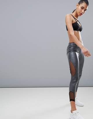 KISAIYA Kisaiya Wet Look Mesh Side Legging