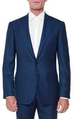 Stefano Ricci Textured Peak-Lapel Wool-Blend Suit, Navy $7,005 thestylecure.com