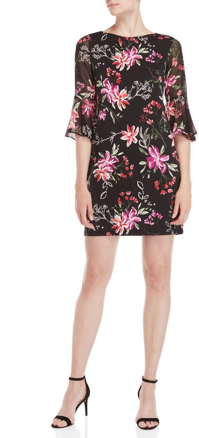 Sandra Darren Petite Black Floral Bell Sleeve Dress