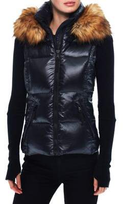 S13 Glossy Faux Fur Hooded Puffer Vest