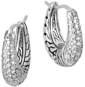 John Hardy Sterling Silver Classic Chain Pavé Diamond Hoop Earrings - 100% Exclusive