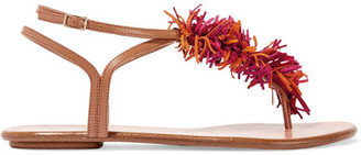 Aquazzura - Wild Thing Fringed Suede And Leather Sandals - Light brown $585 thestylecure.com