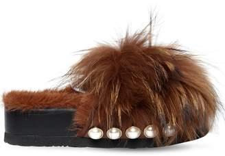SUECOMMA BONNIE 50mm Fur Platform Slide Sandals W/ Studs