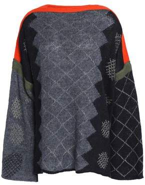 Acne Studios Color-Block Linen And Mohair-Blend Sweater