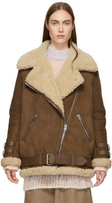 Acne Studios Brown Suede and Shearling Velocite Jacket