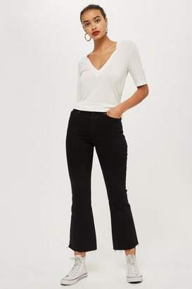 Topshop Womens Black Cropped Kick Flare Dree Jeans