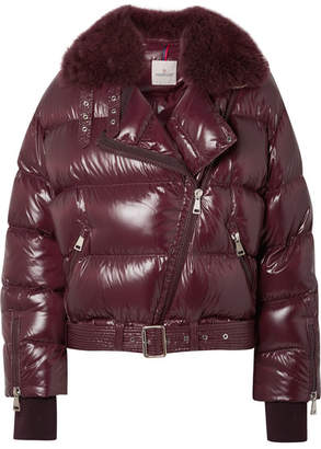 Moncler Shearling-trimmed Quilted Patent-shell Down Jacket - Purple