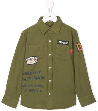Mikihouse Miki House military patch shirt