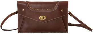 EAZO - Turn Lock Leather Clutch Bag in Dark Brown